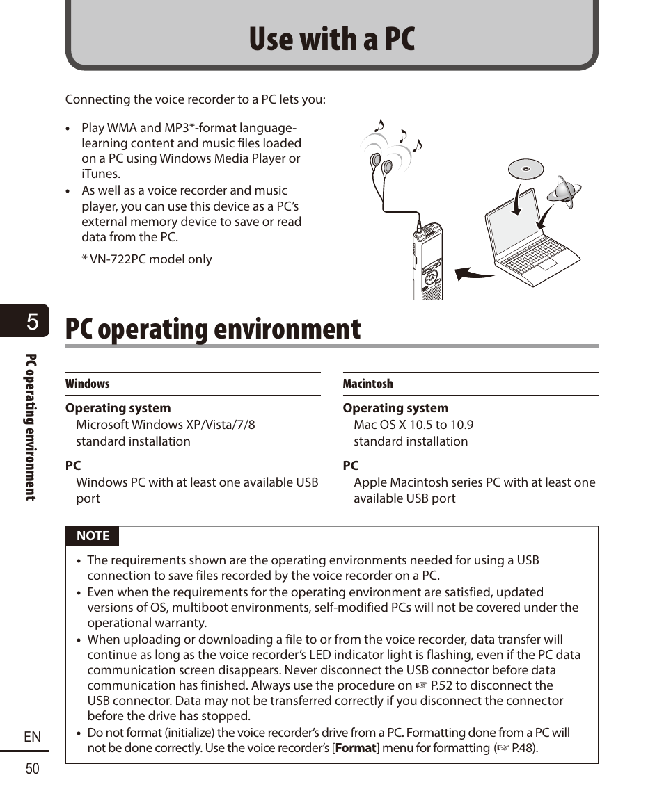 Use with a pc, Pc operating environment   Olympus VN-722PC User Manual    Page 50 / 67