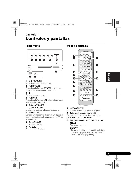 01 controles y pantallas, Panel frontal, Mando a distancia | Pioneer ...