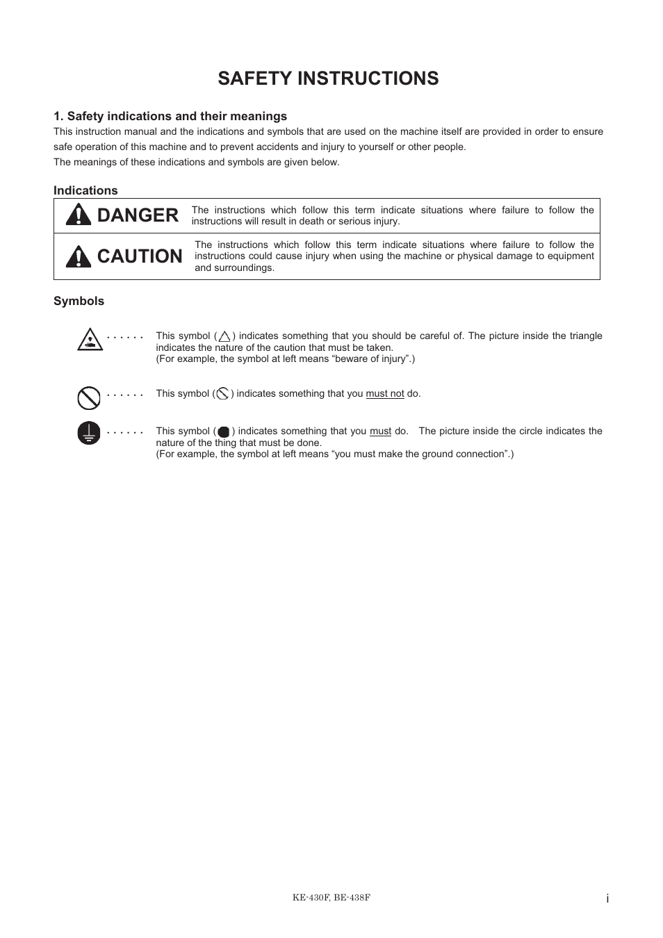 Safety Instructions Danger Caution Brother Be 438f User Manual