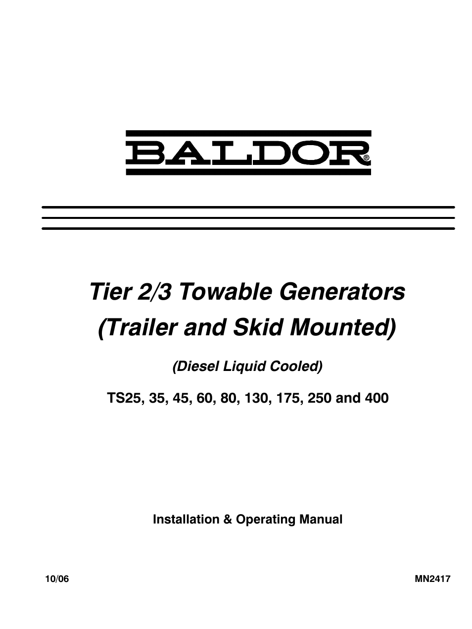 Baldor Ts250 User Manual 88 Pages Also For Ts60 Ts80 Ts130 Generator Wiring Diagrams Ts45 Ts25 Ts175 Ts35
