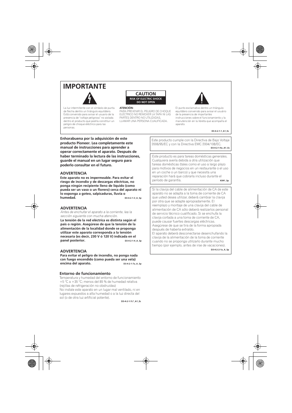 Importante, Caution | Pioneer VSX-819H-S User Manual | Page