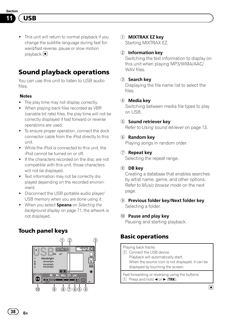 Sound playback operations, 11 usb, Touch panel keys | Pioneer AVH-X2500BT  User Manual | Page 38 / 96 | Original modeManuals Directory