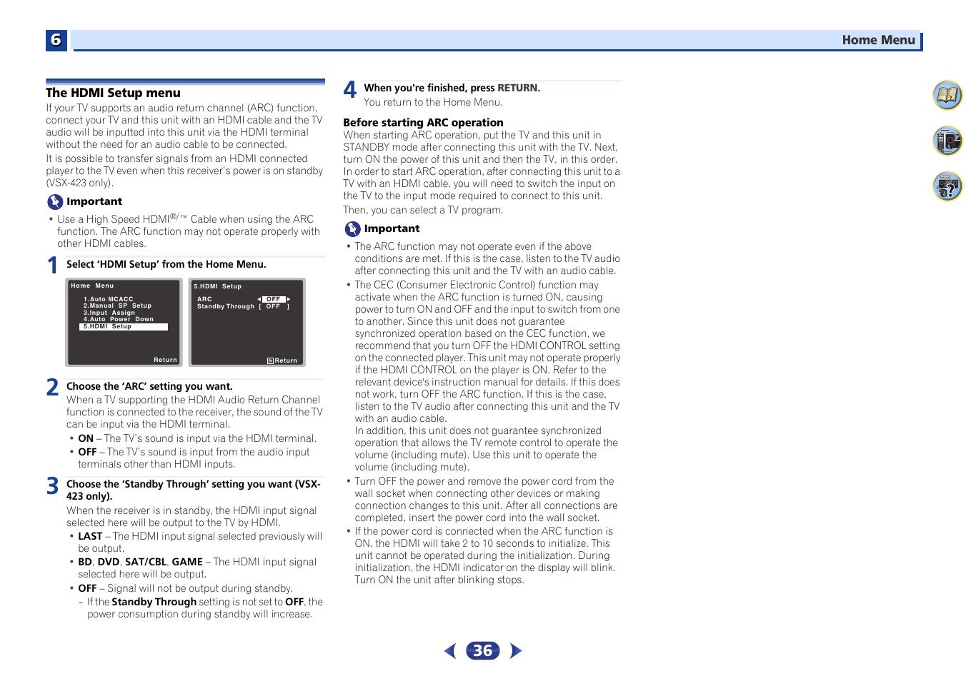 The hdmi setup menu | Pioneer VSX-423-S User Manual | Page