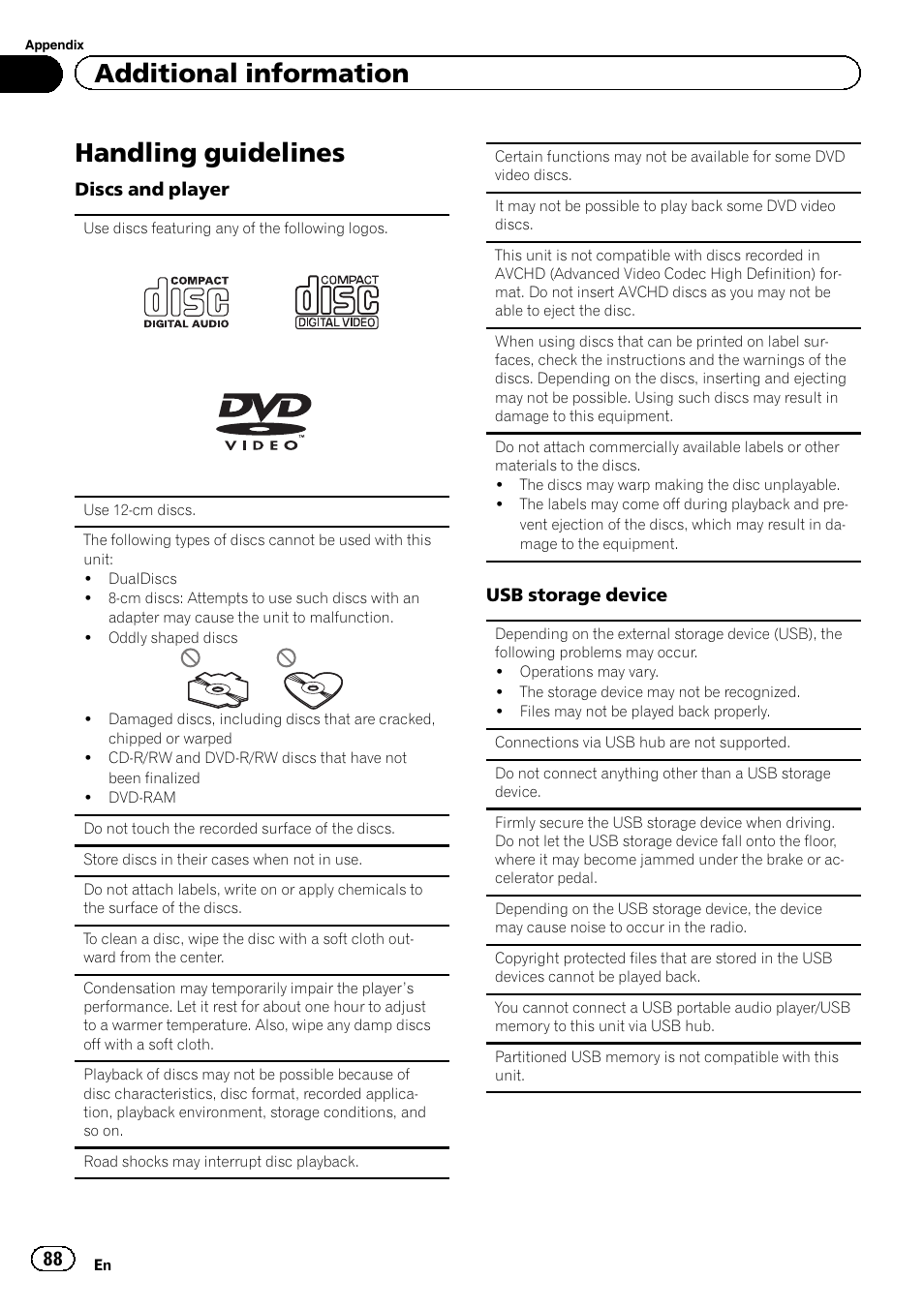 Handling guidelines, Additional information   Pioneer AVH-X2600BT User  Manual   Page 88 /