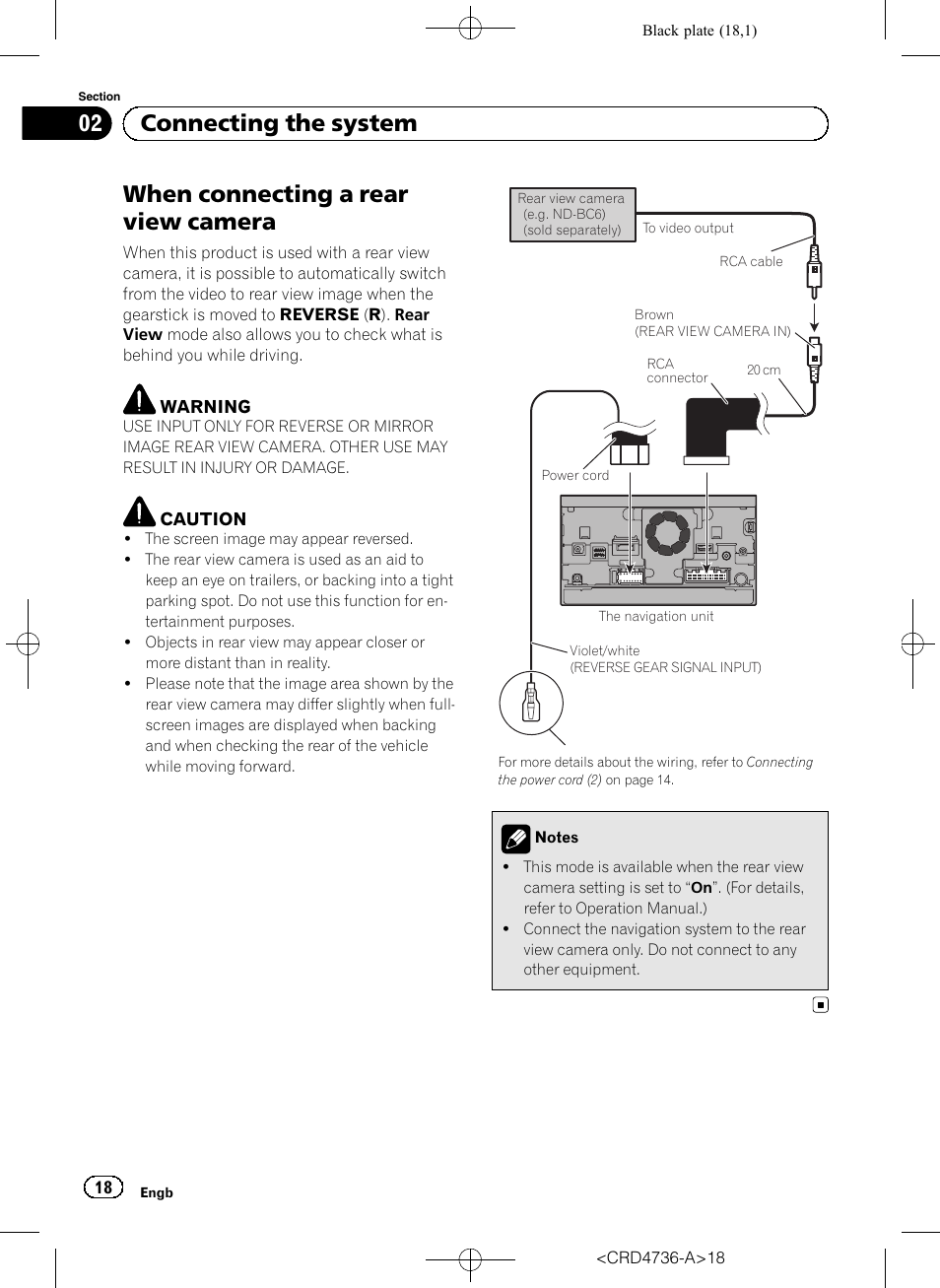 When Connecting A Rear View Camera 02 The System Reversing Wiring Diagram Page 2 Pioneer Avic F50bt User Manual 18 180