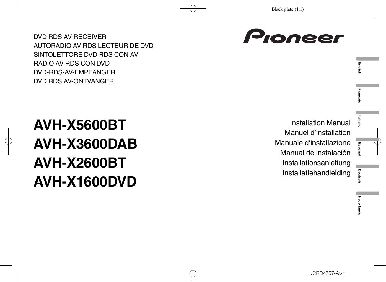 Pioneer Avh X1600dvd Wiring Diagram 35 Images P3300bt X3600dab Page1 User Manual 52 Pages X1500dvd