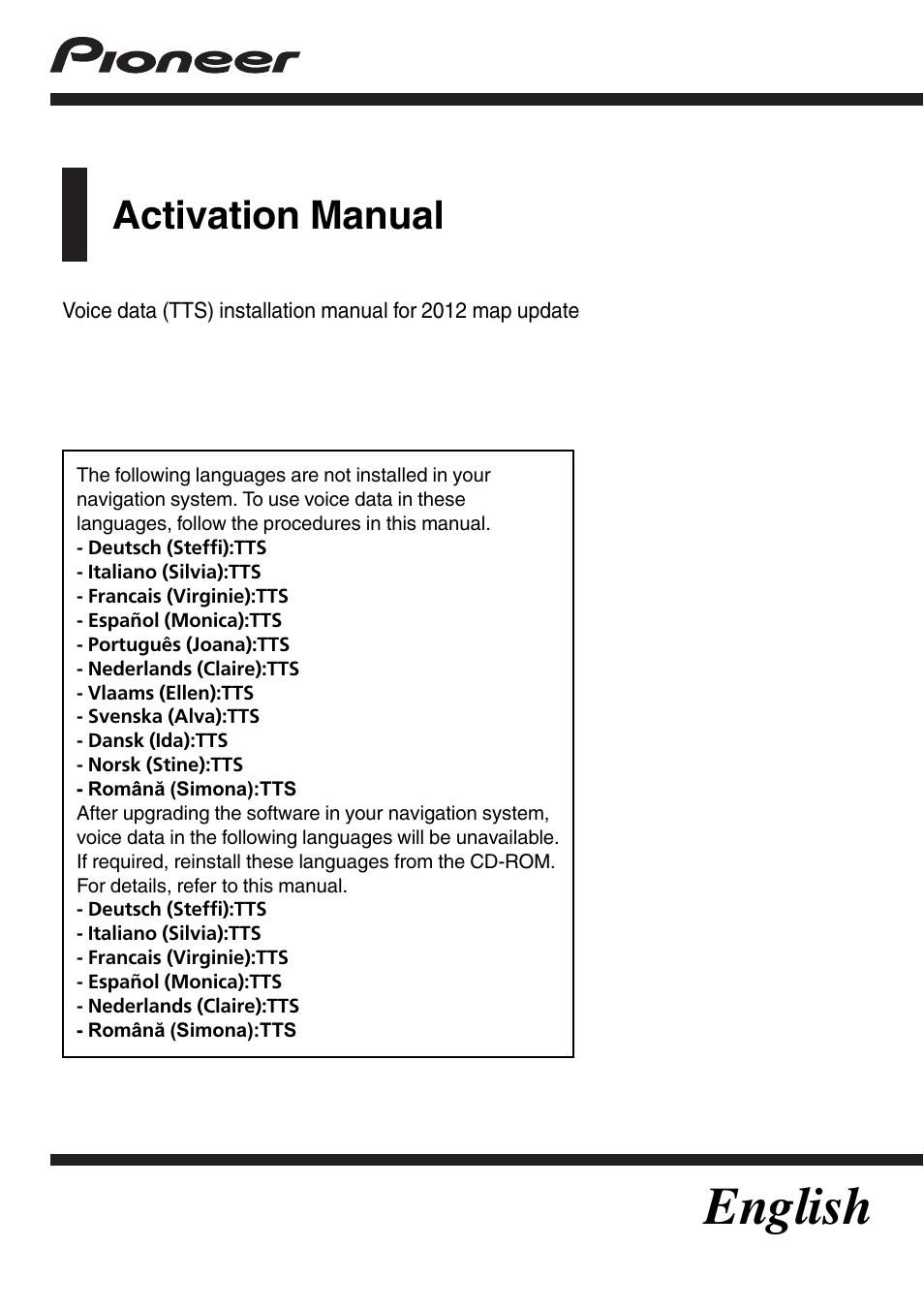 Pioneer Avic Hrz008 English Manual