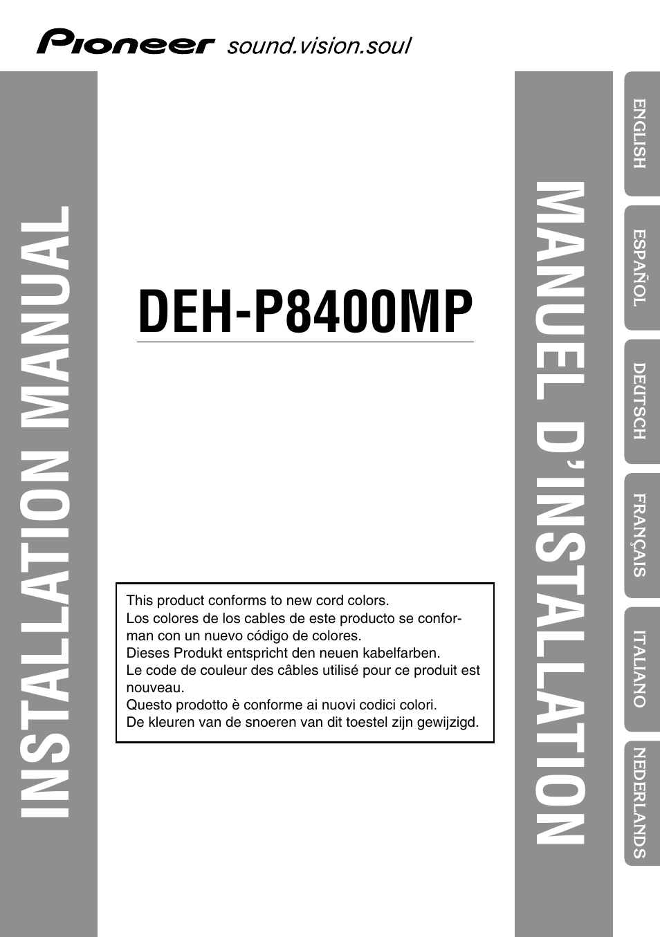 Pioneer Deh P8400mp User Manual 52 Pages Wiring Diagram 8400