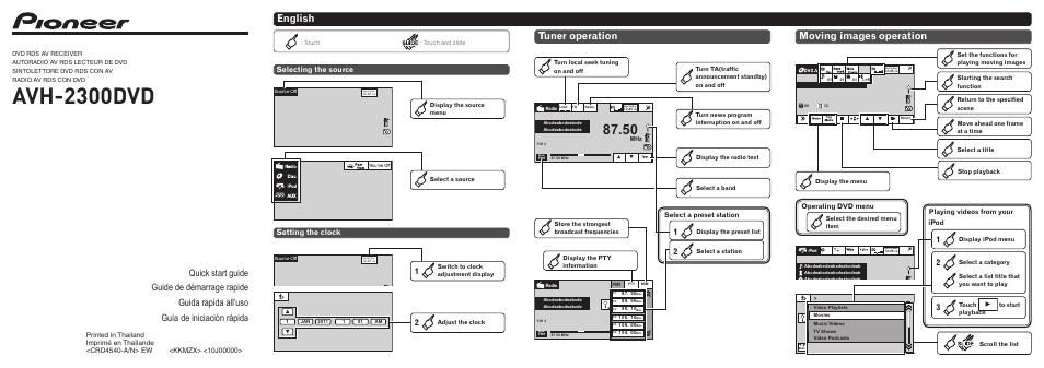 Pioneer Avh 2300dvd User Manual 8 Pages border=