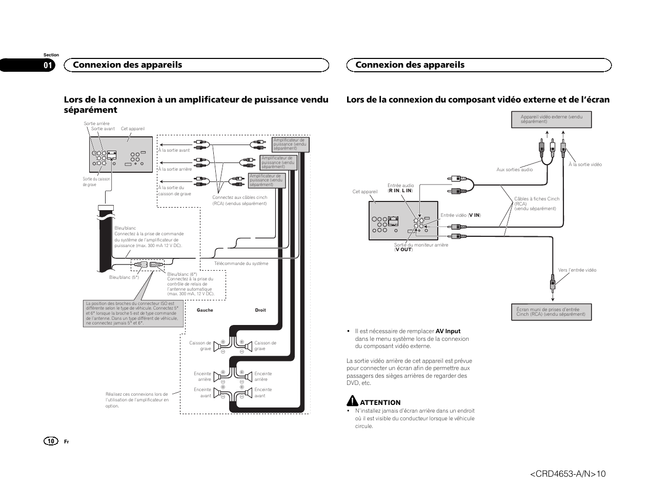 Connexion des appareils | Pioneer AVH-X1500DVD User Manual | Page 10 / 40