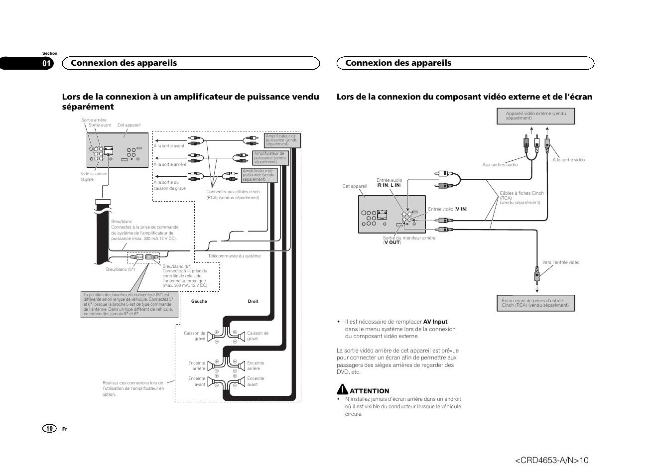 Connexion des appareils | Pioneer AVH-X1500DVD User Manual | Page 10 / 40 |  Original modeManuals Directory