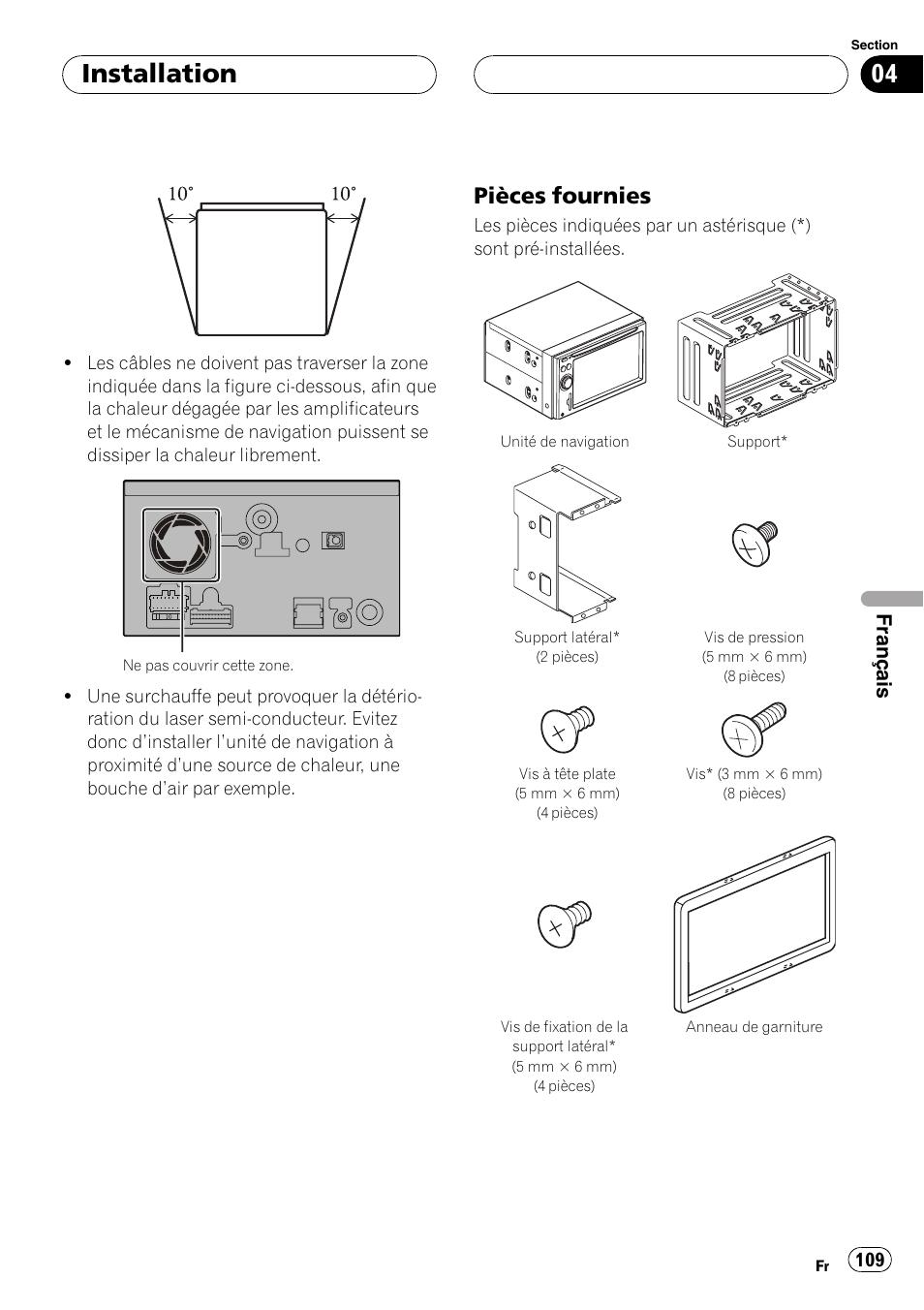 Pièces fournies 109, Installation, Pièces fournies | Français | Pioneer  AVIC F900BT User Manual