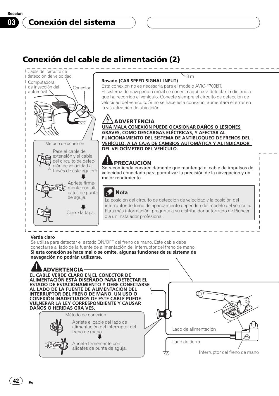 conexi n del cable de alimentaci n 2 conexi n del sistema rh manualsdir com pioneer avic f900bt repair manual pioneer avic-f900bt manuale istruzioni