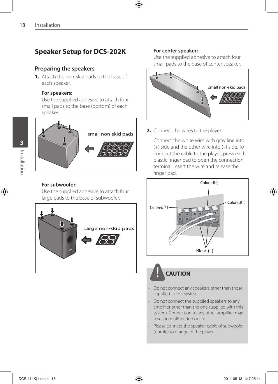 Speaker Setup For Dcs 202k Pioneer 414k User Manual Page 18 Wiring Diagram