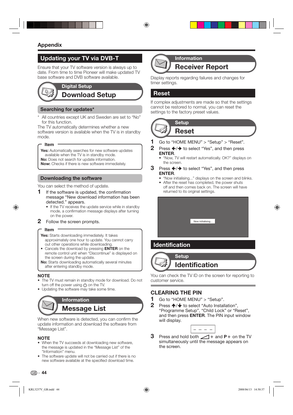 Download setup, Message list, Reset | Pioneer KRL-32V User