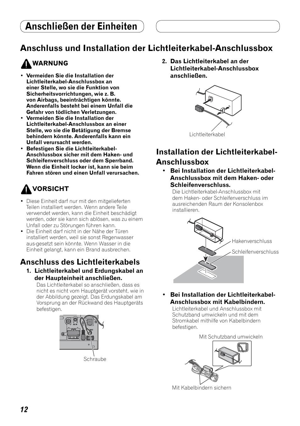 Anschluss und installation der, Lichtleiterkabel-anschlussbox ...