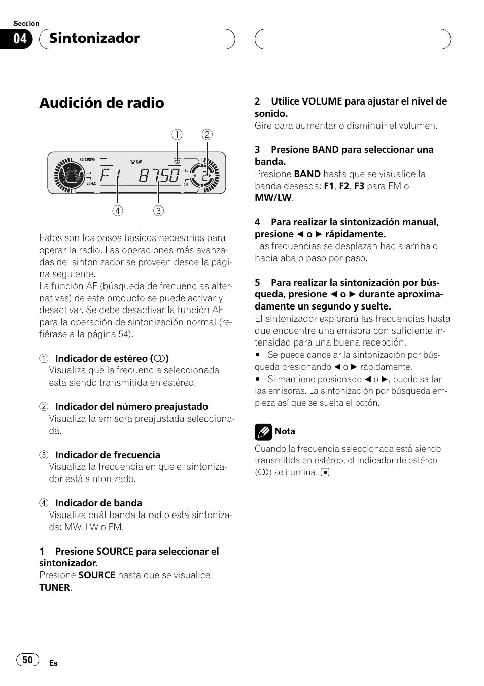 sintonizador audici n de radio 50 audici n de radio pioneer deh rh manualsdir com manual de radio pioneer para carro manual de radio pioneer mosfet 50wx4 en español