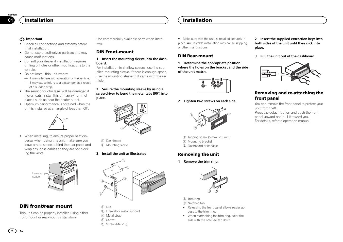 english din front rear mount installation pioneer deh 4400bt rh manualsdir com pioneer radio manual deh-4400bt pioneer deh 4400bt user manual
