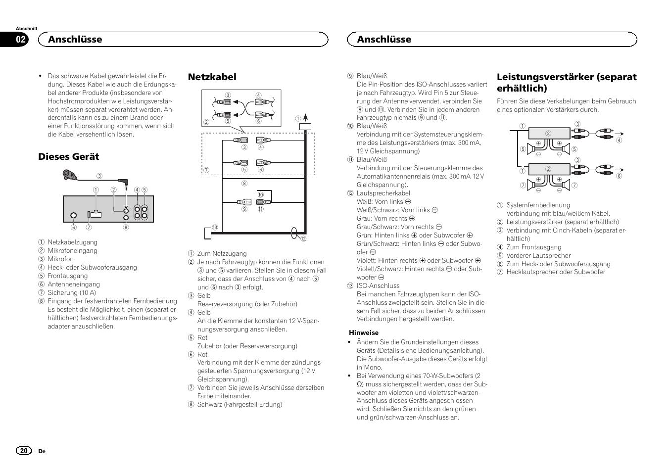dieses ger t netzkabel leistungsverst rker separat erh ltlich rh manualsdir com pioneer deh 4400bt user manual pioneer deh 4400bt user manual