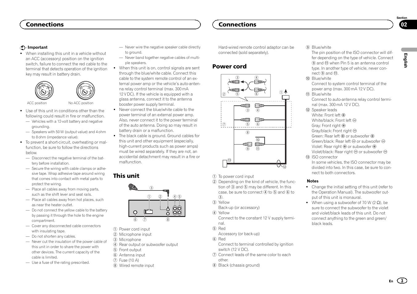 this unit power cord connections pioneer deh 4400bt user manual rh manualsdir com manual instrucciones pioneer deh 4400bt pioneer deh-4400bt installation manual