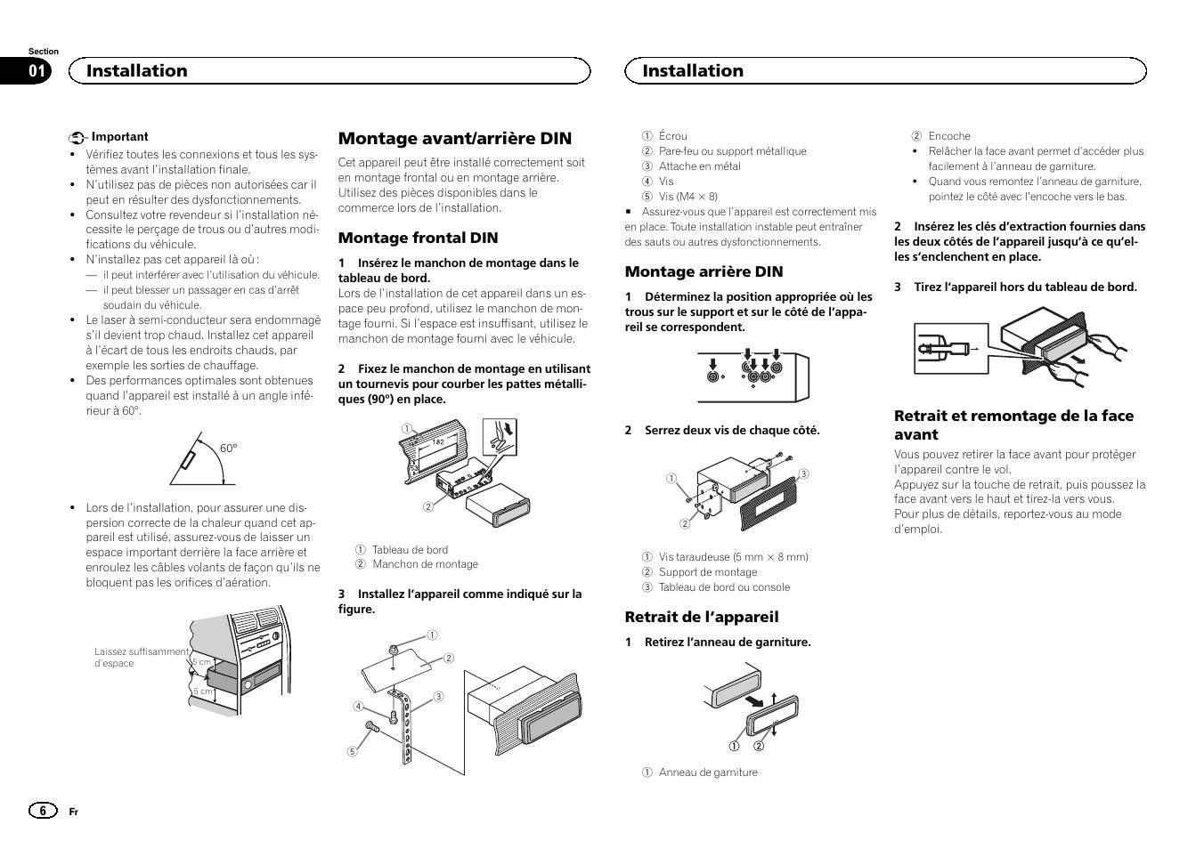 fran ais montage avant arri re din installation pioneer deh rh manualsdir com pioneer deh-4400bt installation manual pioneer deh 4400bt user manual