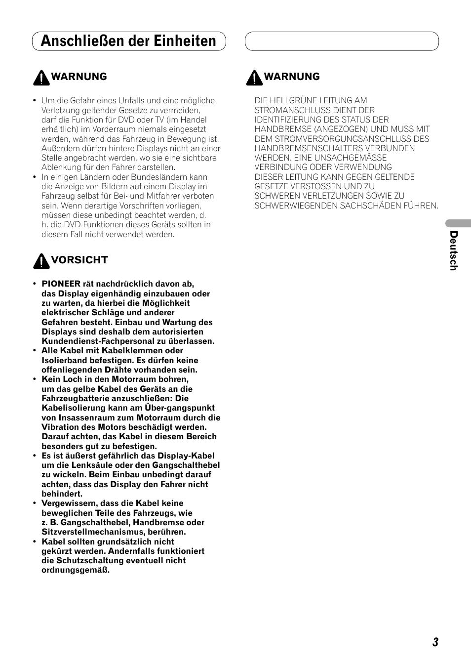 Anschließen der einheiten | Pioneer AVH-P3100DVD User Manual | Page ...