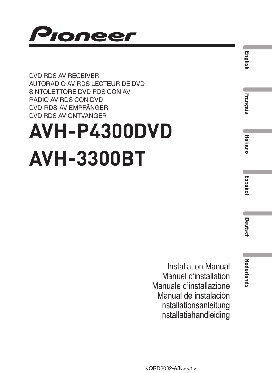 Pioneer Avh P4300dvd User Manual
