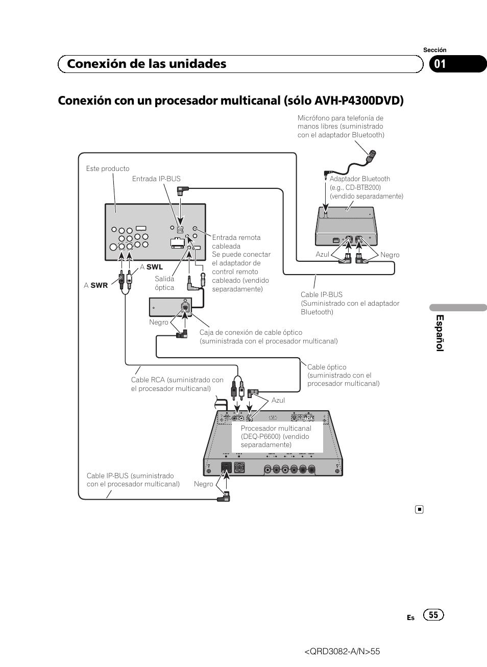 01 conexión de las unidades   Pioneer AVH P4300DVD User Manual   Page 55 /  100   Original modeManuals Directory