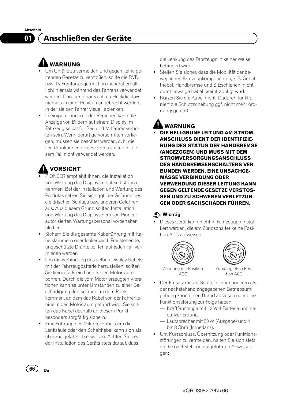 Deutsch, 01 anschließen der geräte | Pioneer AVH P4300DVD User ...