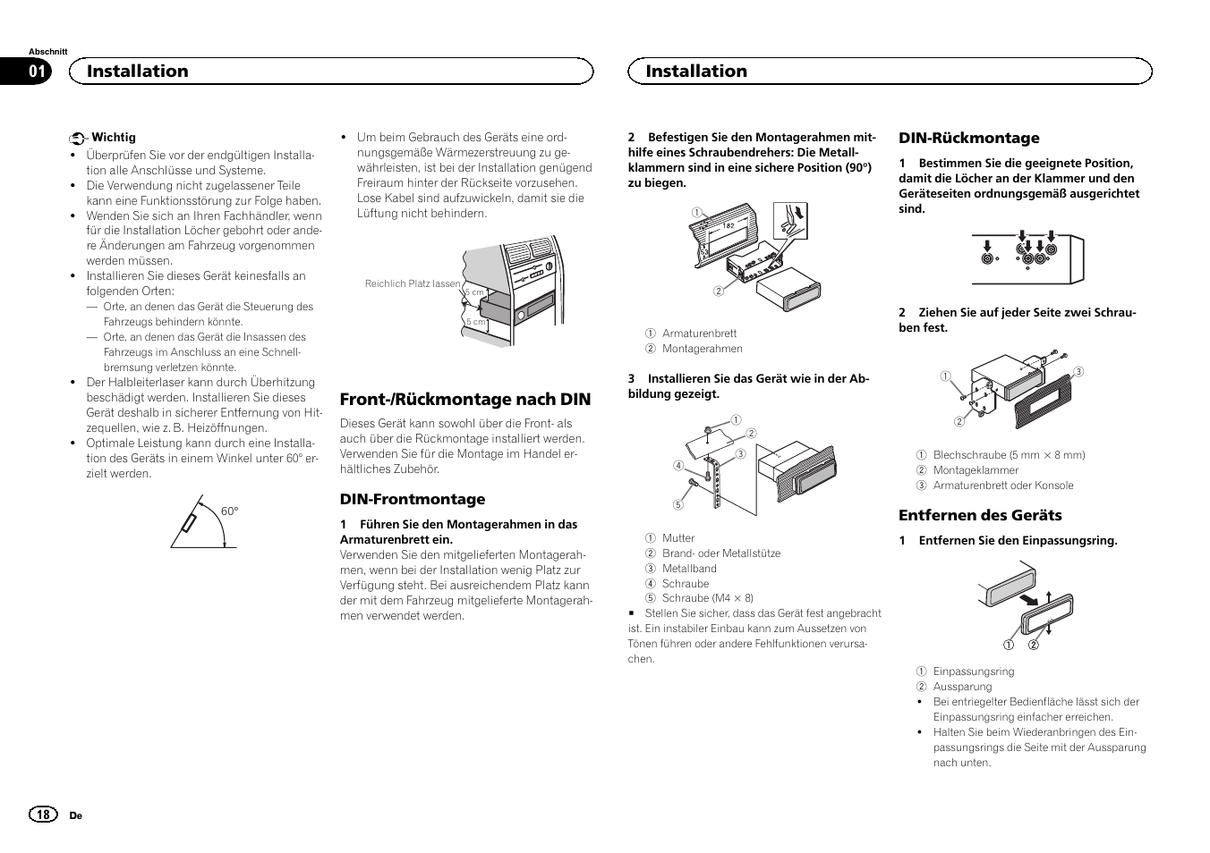 front r ckmontage nach din installation pioneer deh 6400bt user rh manualsdir com Pioneer Deh 64Bt Owner's Manual pioneer deh-6400bt installation manual