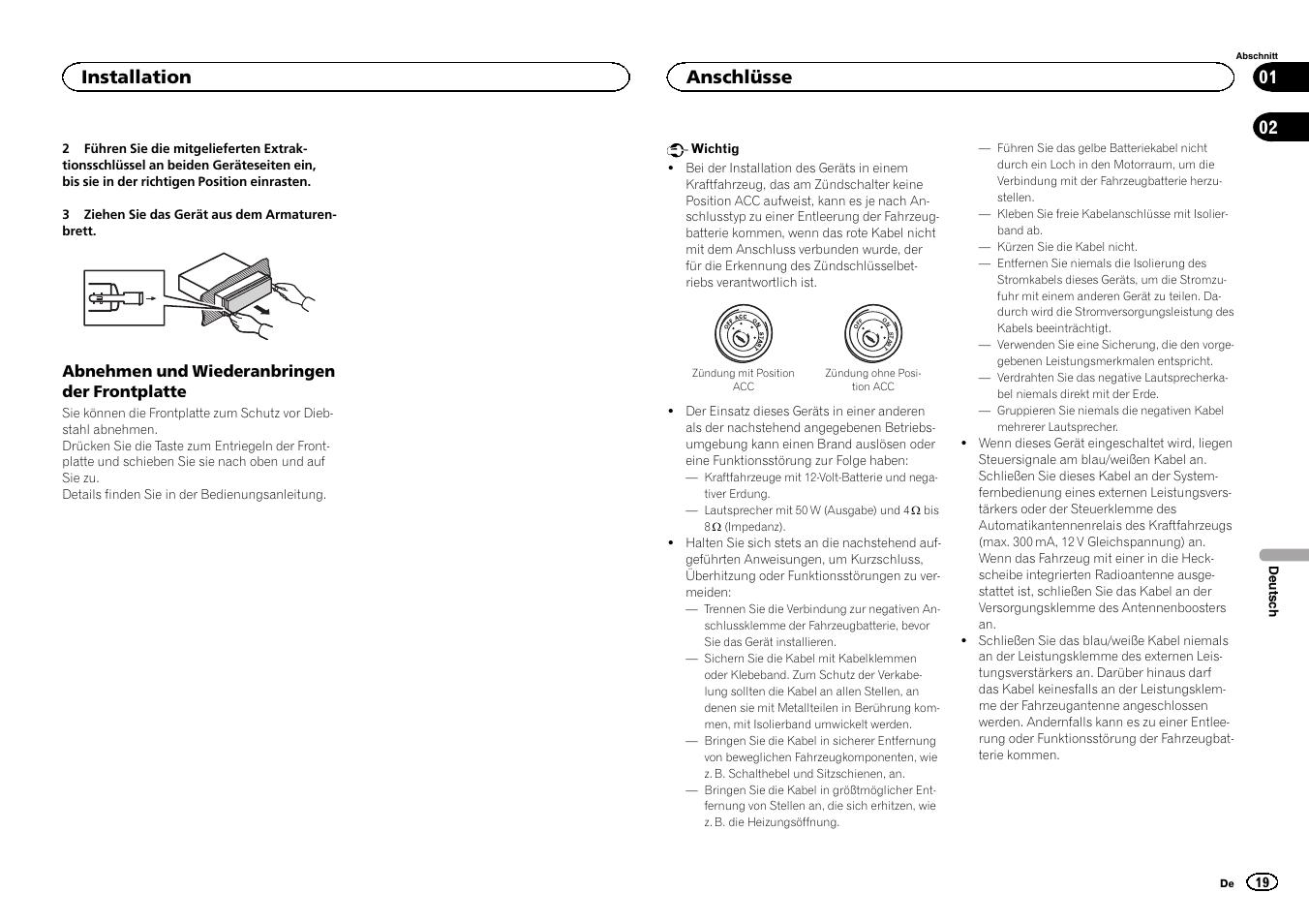 installation anschl sse pioneer deh 6400bt user manual page 19 rh manualsdir com Pioneer DEH-6400BT CD Receiver Pioneer Deh 5400Bt Manual