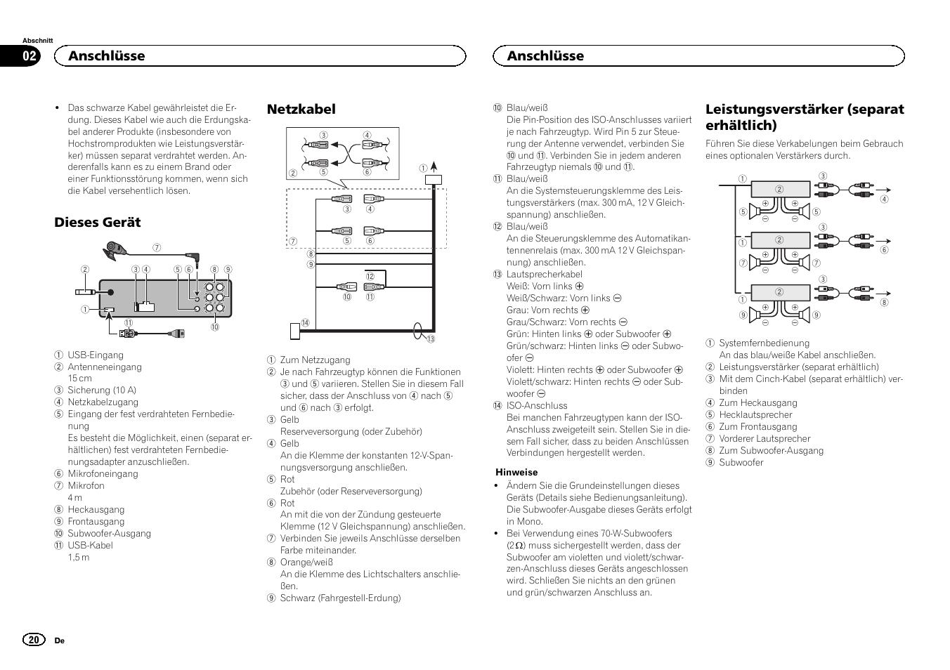 dieses ger t netzkabel leistungsverst rker separat erh ltlich rh manualsdir com Pioneer Deh 6400Bt Manual PDF Pioneer Deh 5400Bt Manual