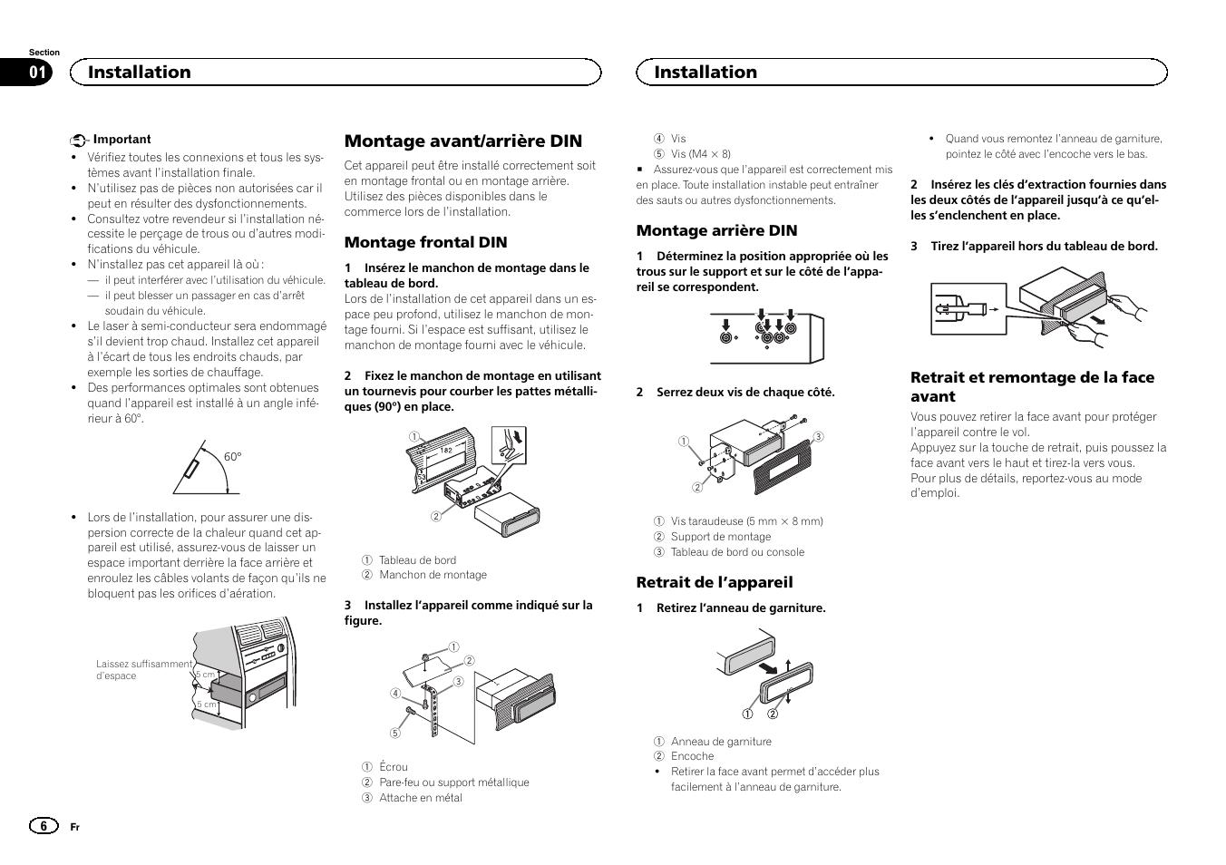 fran ais montage avant arri re din installation pioneer deh rh manualsdir com Pioneer Deh 64Bt Owner's Manual Pioneer Deh 64Bt Owner's Manual