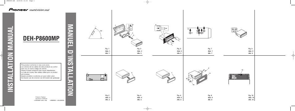 pioneer deh p8600mp user manual 8 pages rh manualsdir com Pioneer 8500 Pioneer 8500
