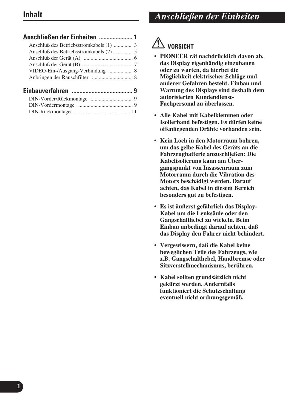 Anschließen der einheiten, Inhalt | Pioneer AVH-P6400R User Manual ...