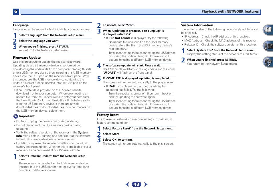 Language, Firmware update, Factory reset | Pioneer VSX-527-K User
