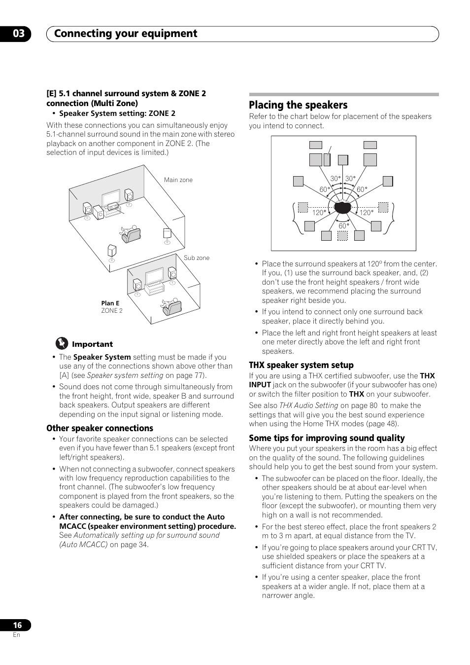 Other Speaker Connections Placing The Speakers Thx System Sound Hook Up Diagram On 5 1 Surround Placement Setup Pioneer Vsx Lx53 User Manual Page 16 110