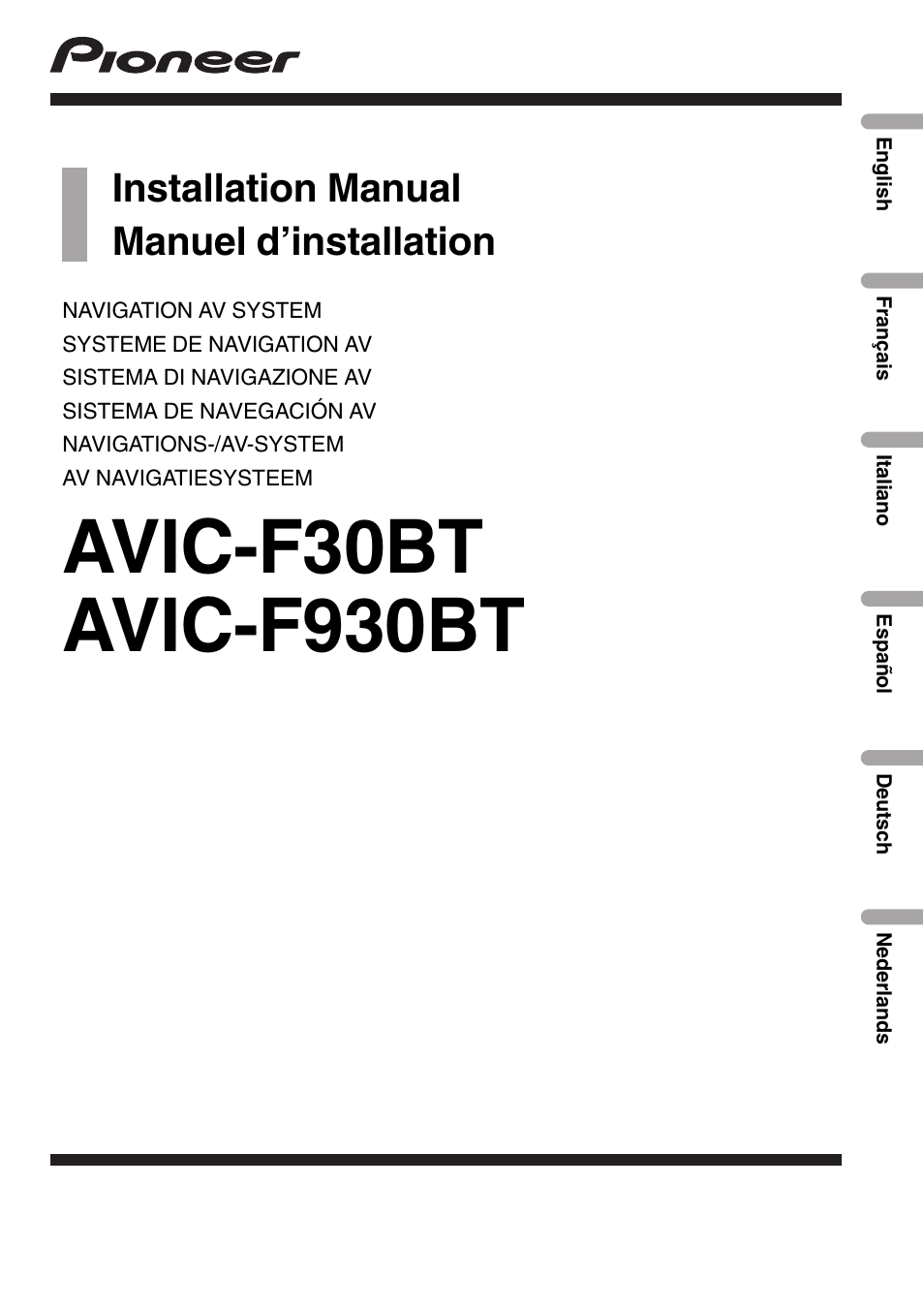 Uitgelezene Pioneer AVIC-F30BT User Manual | 172 pages | Also for: AVIC-F930BT CP-66
