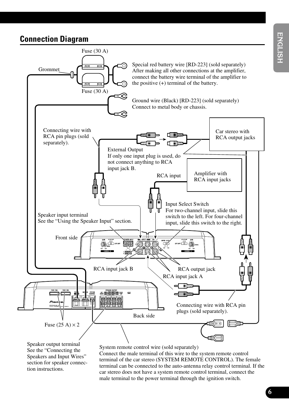 Connection Diagram Pioneer Gm 6300f User Manual Page 7 86 Rca Phone Jack Wiring
