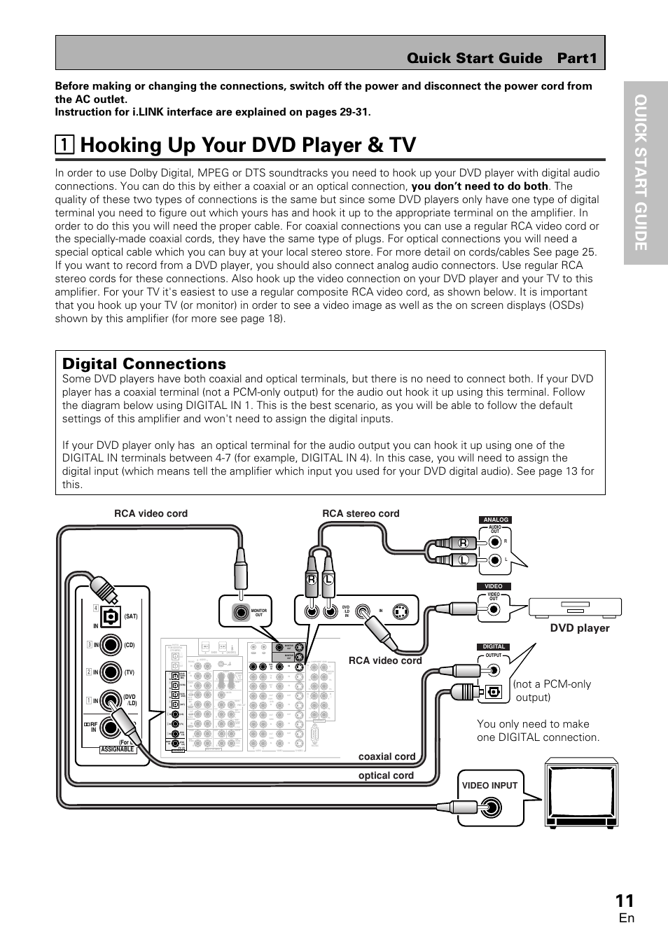 1 hooking up your dvd player & tv, 11 hooking up your dvd player ...