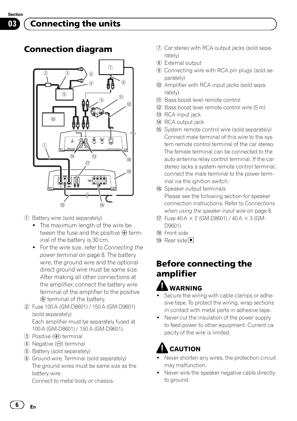 pioneer gm d8601 page6 connection diagram, before connecting the amplifier, 03 connecting pioneer gm-d9601 wiring diagram at bayanpartner.co
