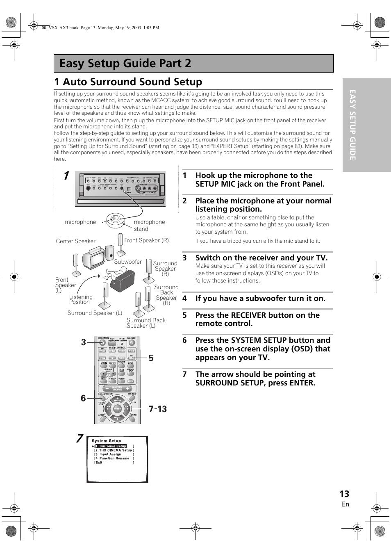 Easy setup guide part 2, 1 auto surround sound setup | Pioneer VSX-AX3