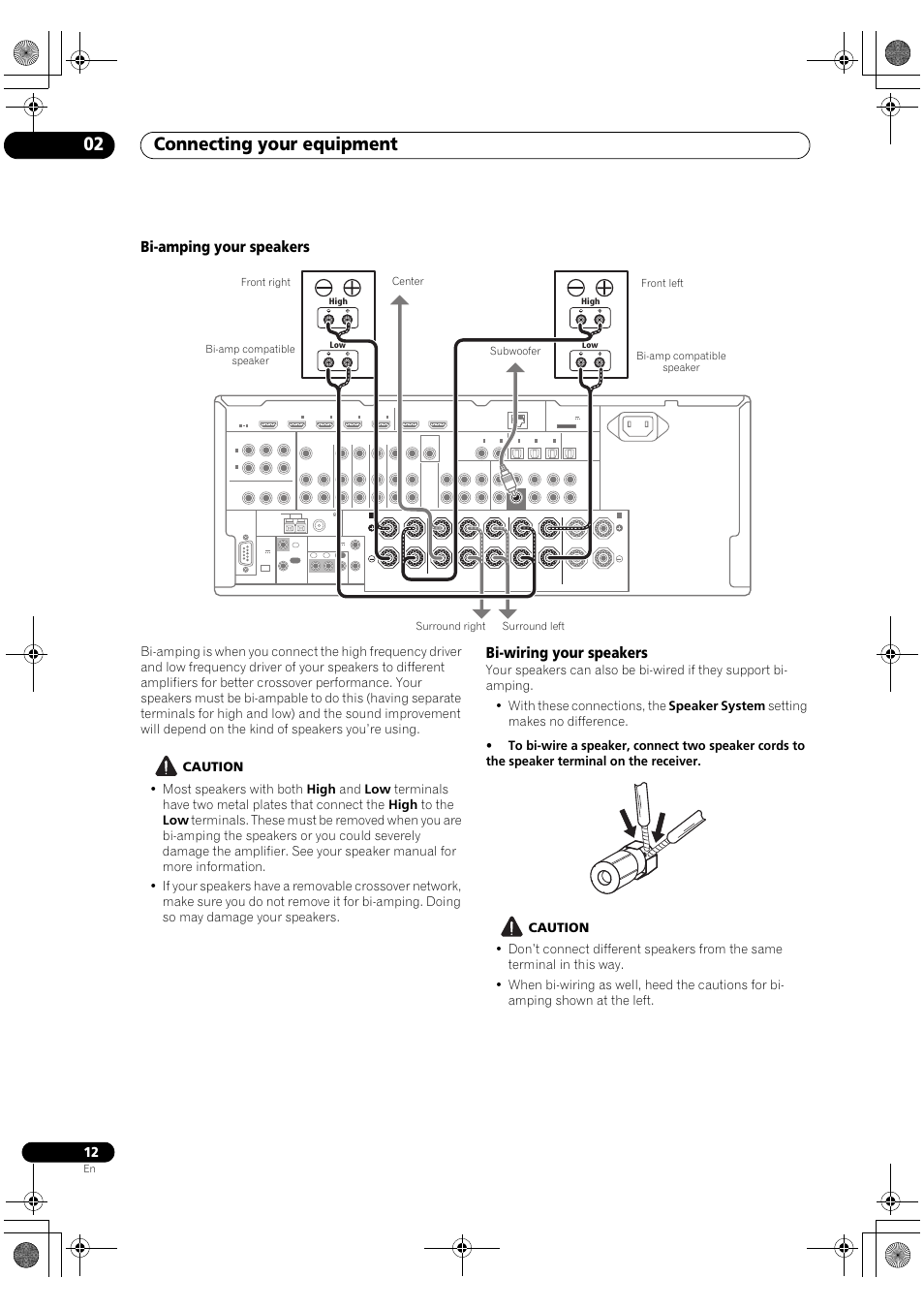 Bi Amping Your Speakers Wiring Connecting Loudspeaker System Crossover Network Schematic Design Equipment 02 Pioneer Vsx 2020 K User Manual Page 12 88