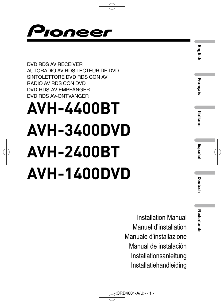 pioneer avh 1400dvd user manual 76 pages also for avh. Black Bedroom Furniture Sets. Home Design Ideas