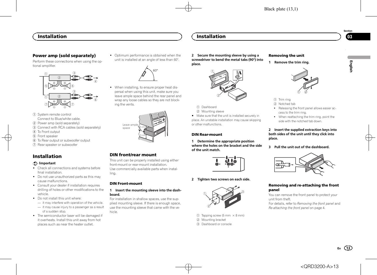 Installation   Pioneer DEH-2600UI User Manual   Page 13 / 148