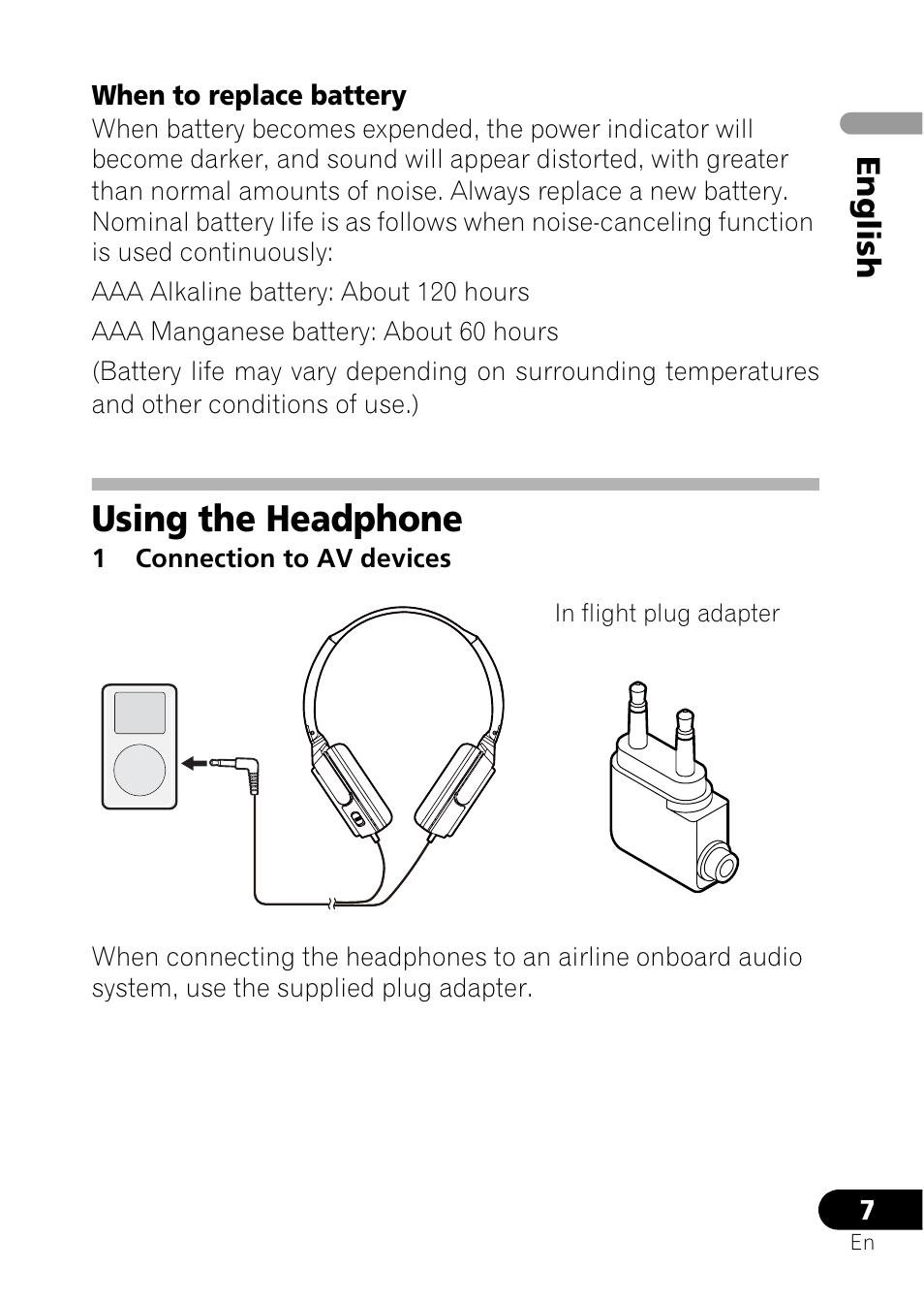Using the headphone, En gl ish | Pioneer SE-NC21M User Manual | Page