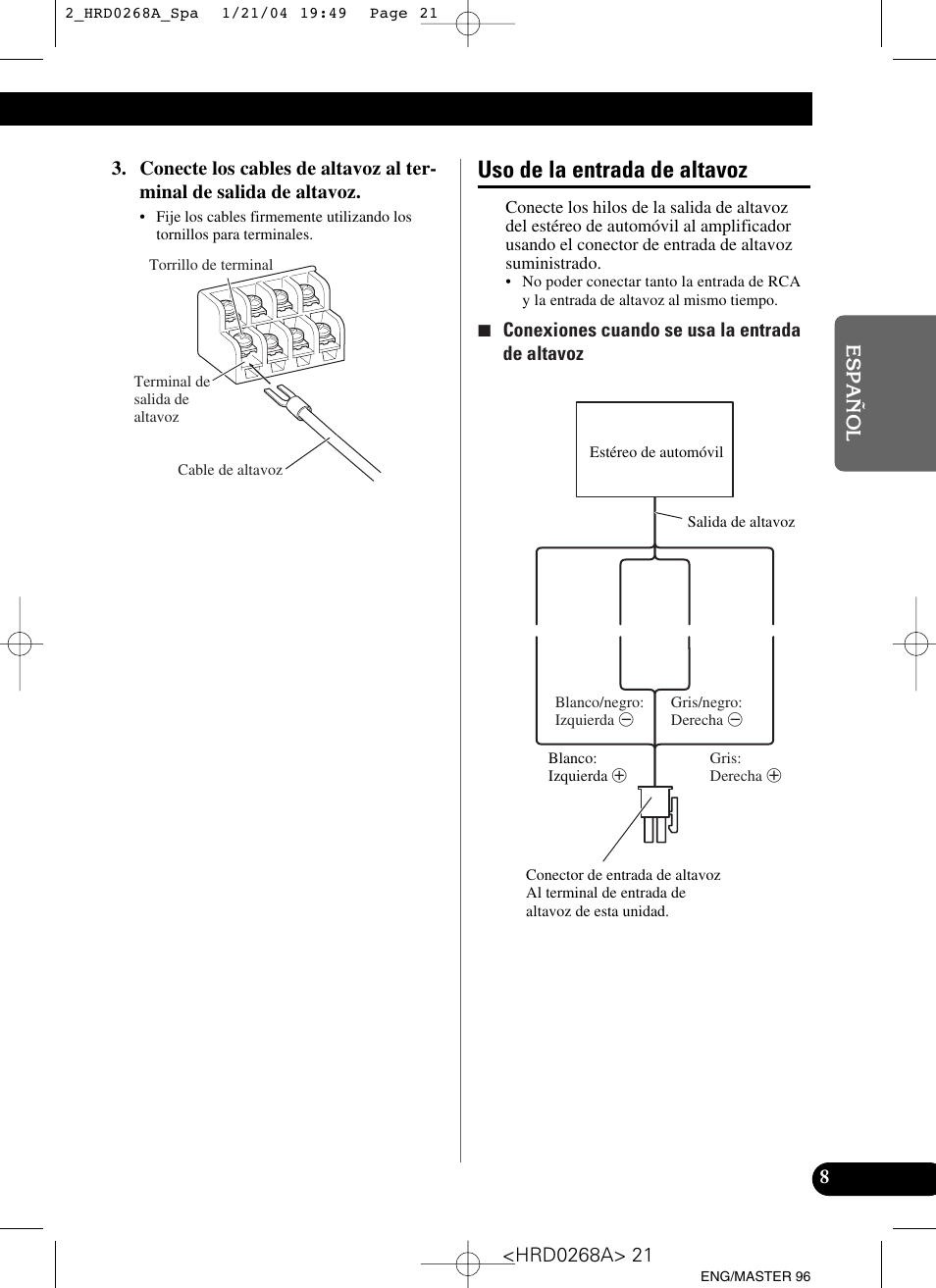 Pioneer Gm 4000f Wiring Diagram Schematic Diagrams Sterling Lt9500 Uso De La Entrada Altavoz User Manual Page