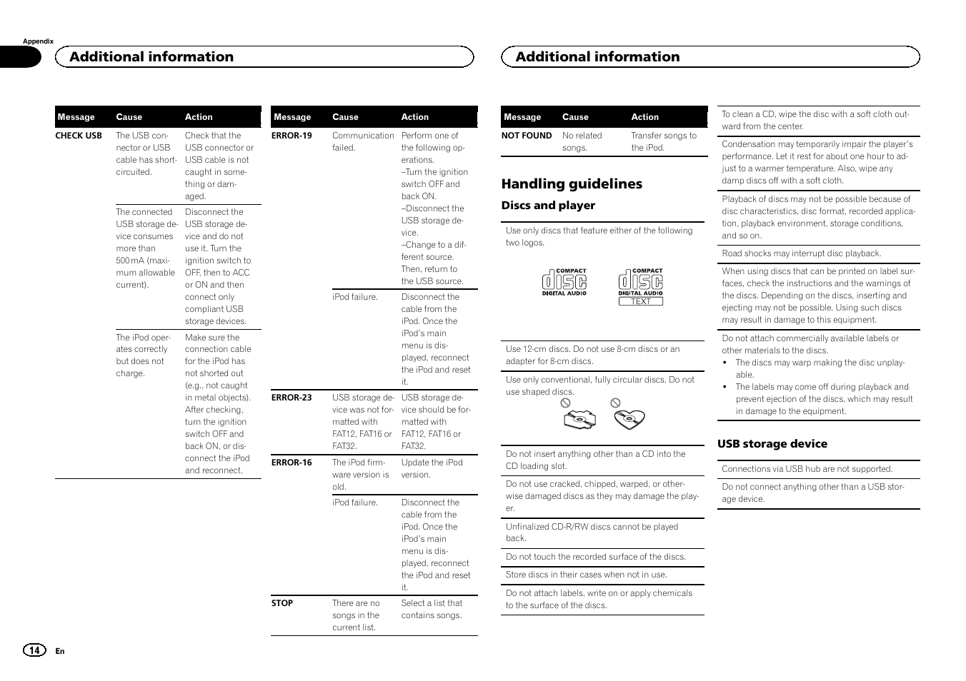 Handling guidelines, Additional information   Pioneer DEH-3400UB User Manual    Page 14 /