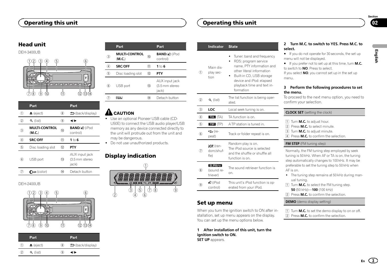 Head unit, Display indication, Set up menu | Operating this unit | Pioneer  DEH