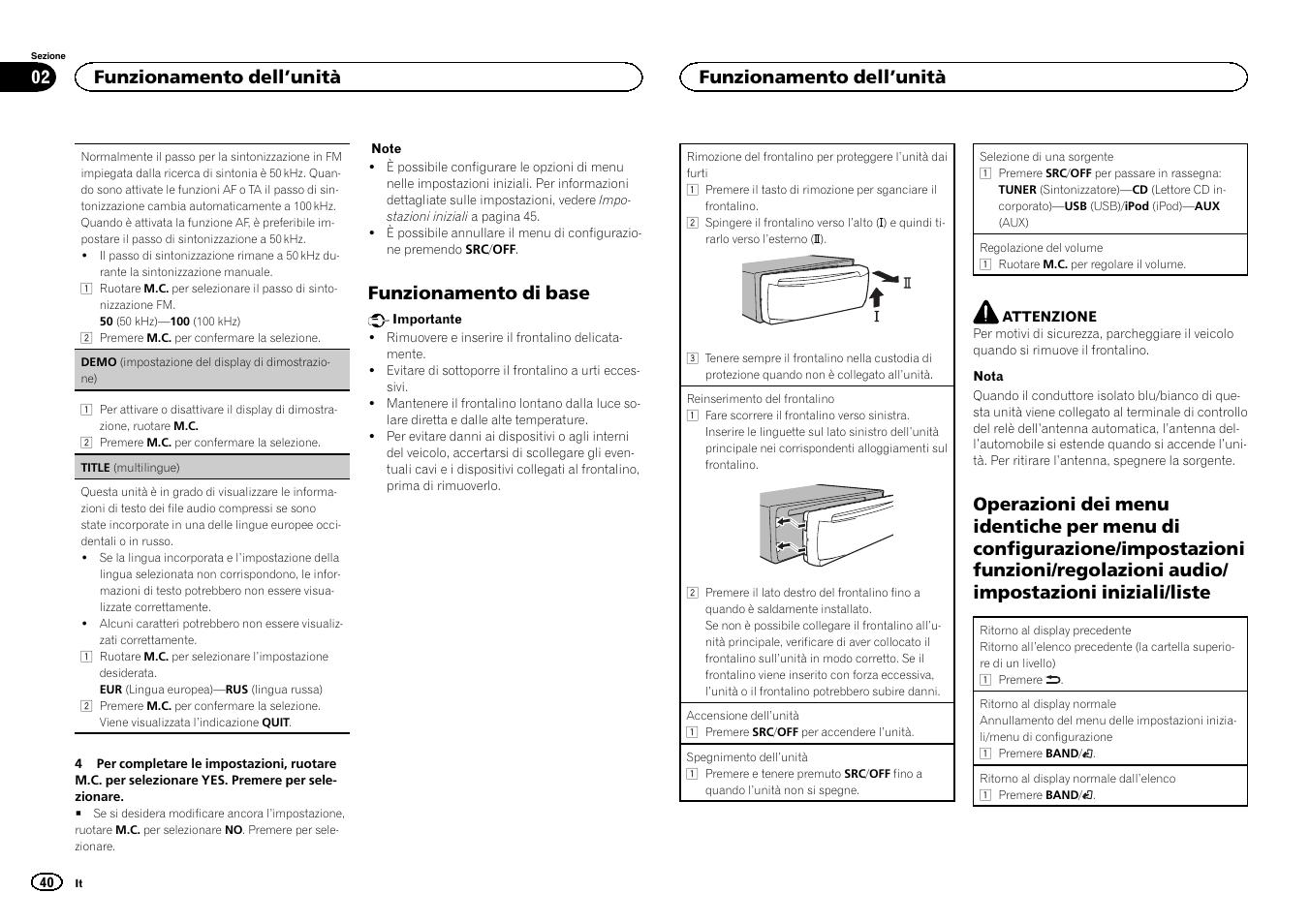 Funzionamento di base, Funzionamento dell 'unità   Pioneer DEH-3400UB User  Manual  